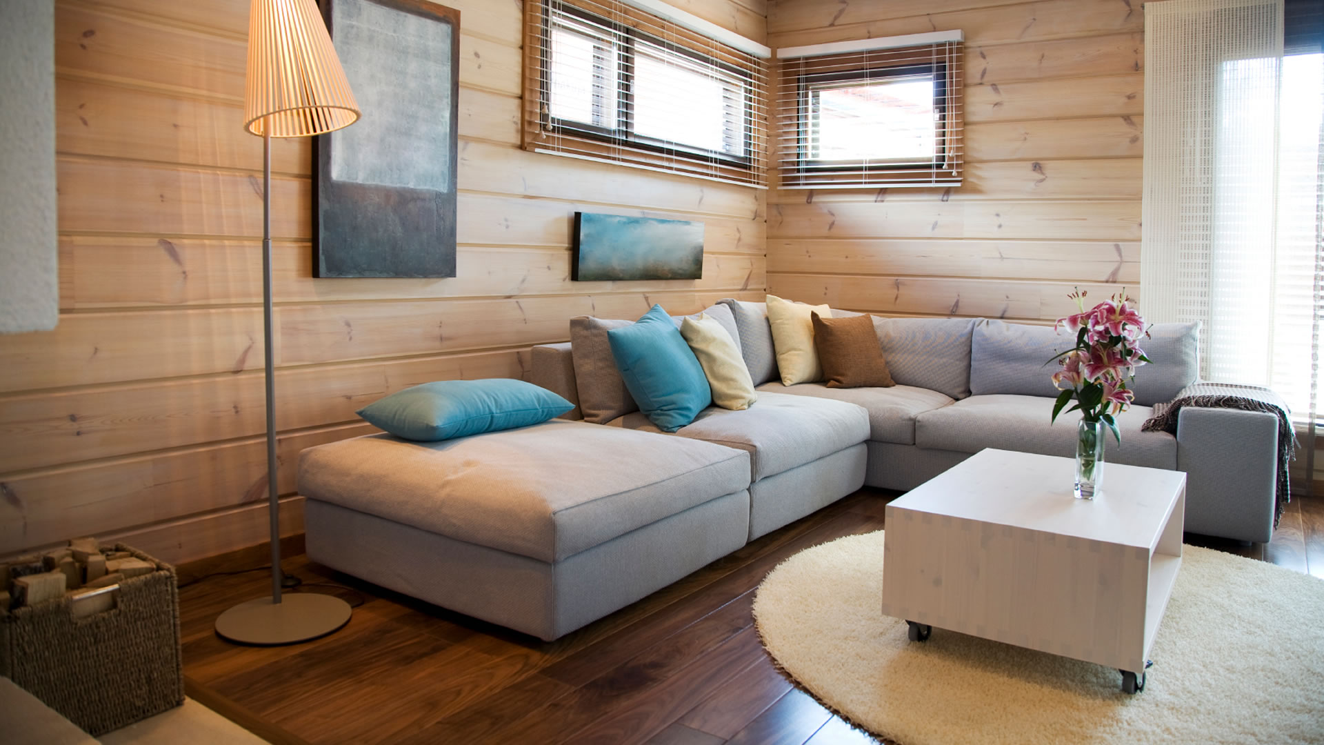 Warm Modern Living Room  Houzz
